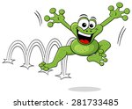 Stock vector vector illustration of a jumping cartoon frog isolated on white 281733485