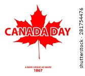 happy canada day card in vector ... | Shutterstock .eps vector #281754476