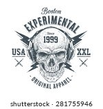 dotwork style skull with... | Shutterstock .eps vector #281755946