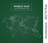 world map white outline stroke... | Shutterstock .eps vector #281757926