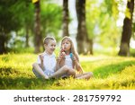children blowing bubbles in the ... | Shutterstock . vector #281759792