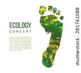 vector foot imprint. green... | Shutterstock .eps vector #281761088