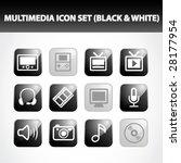 multimedia icon set  black  ... | Shutterstock .eps vector #28177954