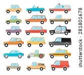 Set Of Cartoon Cars. Flat...