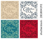 four vintage postcard with... | Shutterstock . vector #281804192
