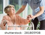 old woman gets help with... | Shutterstock . vector #281805938