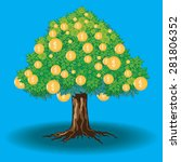 money tree on blue background | Shutterstock . vector #281806352