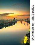 bangkok cityscape near river in ... | Shutterstock . vector #281810822