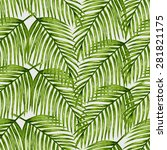 watercolor tropical palm leaves ... | Shutterstock .eps vector #281821175