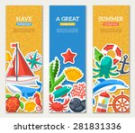 summer banners with marine... | Shutterstock .eps vector #281831336