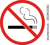 red no smoking sign on a white... | Shutterstock .eps vector #281842682