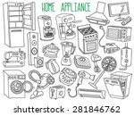 home appliances themed doodle... | Shutterstock .eps vector #281846762
