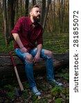 men man hipster beard lumber... | Shutterstock . vector #281855072