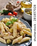 pasta with tuna chunks and... | Shutterstock . vector #281857028