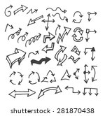 vector hand drawn arrows set... | Shutterstock .eps vector #281870438