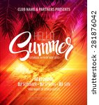 hello summer beach party flyer. ... | Shutterstock .eps vector #281876042