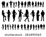 woman and man silhouettes design | Shutterstock .eps vector #281890565