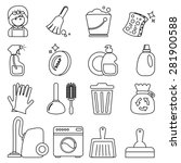 cleaning icons set | Shutterstock .eps vector #281900588