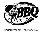 bbq grill with smoke and stars... | Shutterstock .eps vector #281929862