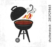 bbq grill cooking with smoke...   Shutterstock .eps vector #281929865