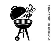 black bbq grill cooking with...   Shutterstock .eps vector #281929868
