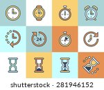 time and clock icons on color...