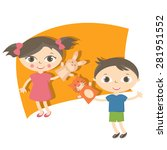 illustration small kids with... | Shutterstock .eps vector #281951552