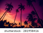Stock photo sunset on the beach resort background 281958416
