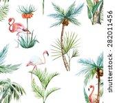watercolor tropical pattern ... | Shutterstock . vector #282011456