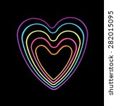 group of colorful hearts on... | Shutterstock . vector #282015095