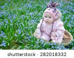 cute baby girl in basket | Shutterstock . vector #282018332