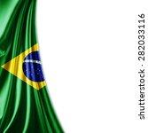 brazil   flag of silk and white ... | Shutterstock . vector #282033116
