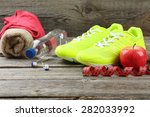 shoe  water  tape measure and... | Shutterstock . vector #282033992