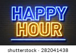 happy hour neon sign on brick... | Shutterstock . vector #282041438