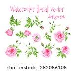 watercolor pink roses vintage... | Shutterstock .eps vector #282086108