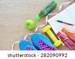 fitness concept  fresh fruits ... | Shutterstock . vector #282090992