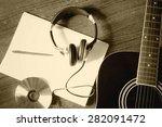 guitar headphones writing song | Shutterstock . vector #282091472