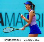Small photo of MADRID, SPAIN - MAY 6 : Ana Ivanovic celebrates a point at the 2015 Mutua Madrid Open WTA Premier Mandatory tennis tournament