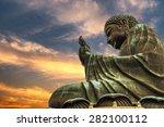 the enormous tian tan buddha at ... | Shutterstock . vector #282100112