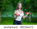 woman working out with small... | Shutterstock . vector #282106172