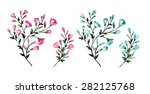 blossoming branches with blue... | Shutterstock .eps vector #282125768