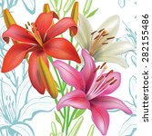 seamless floral pattern with... | Shutterstock .eps vector #282155486