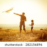 dad with his little daughter... | Shutterstock . vector #282156896