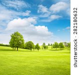 Spring Field Landscape With...