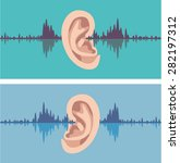 soundwave through the human ear | Shutterstock .eps vector #282197312