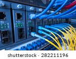 fiber optic equipment in a data ... | Shutterstock . vector #282211196