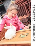 little girl with a rabbit in... | Shutterstock . vector #282234152
