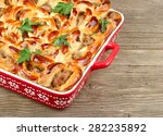 the meat pie made at home on a... | Shutterstock . vector #282235892