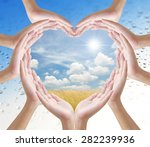 hand heart shape and nature... | Shutterstock . vector #282239936
