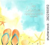 watercolor card with seaside ... | Shutterstock .eps vector #282250352